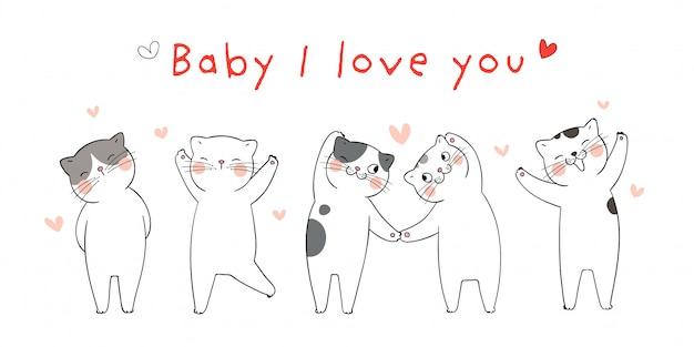 Zeichnen sie illustration mit katzen