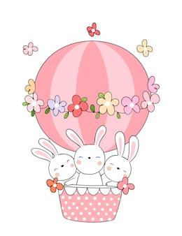 Zeichnen sie kaninchen im rosa ballon für frühlingsjahreszeit.