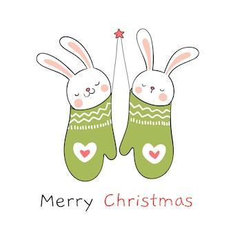 Zeichnen sie kaninchen in den grünen handschuhen für weihnachtstag und neues jahr.