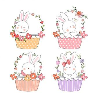 Zeichnen sie kaninchen in der süßen korbblume für frühlingsjahreszeit.