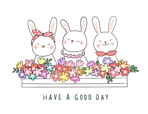 Zeichnen sie kaninchen mit schönheitsblume im blumentopf für frühling