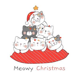 Zeichnen sie katze auf rotem kissen für weihnachten und neujahr.
