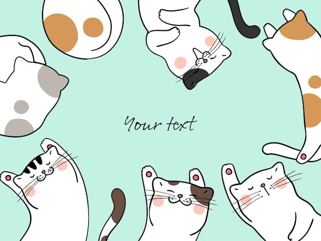 Zeichnen sie katze, die artwork-schablone und leerstelle für text schläft