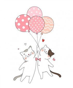 Zeichnen sie katze, die ballon rosa-pastellfarbe hält.