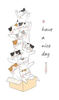 Zeichnen sie katze im braunen kasten, der so lustig ist und wort haben einen schönen tag.