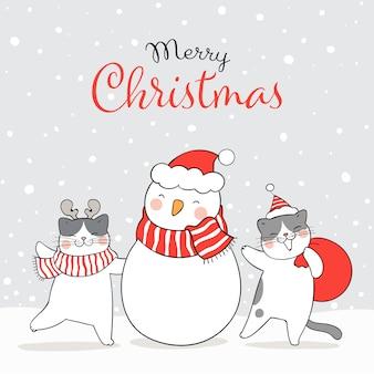Zeichnen sie katze im schnee mit schneemann winter neujahr und weihnachten.