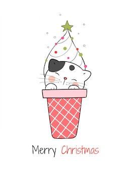 Zeichnen sie katze in der eistüte für weihnachtstag und neues jahr.