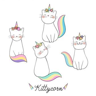 Zeichnen sie katze mit blume auf kopf und wortmiezekatze-einhorn.