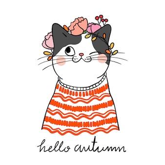 Zeichnen sie katze mit schönheits-strickjacke und kranzblume für herbst