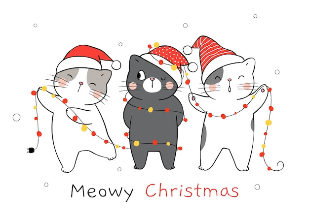 Zeichnen sie katze mit weihnachtslicht für weihnachten und neujahr.