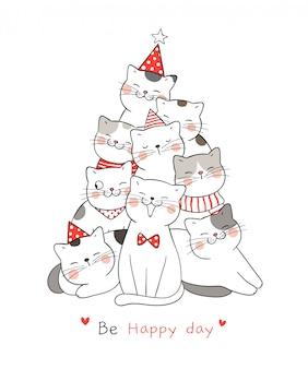 Zeichnen sie katze mit wort ist glücklicher tag für weihnachten.