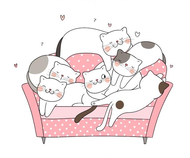 Zeichnen sie katzenschlaf auf rosa sofa.