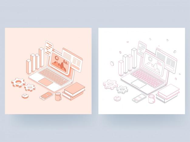 Zeichnen sie kunstillustration der infographic on-line-darstellung im laptop mit mehrfachem schirm, smartphone, zahnrad und balkendiagramm