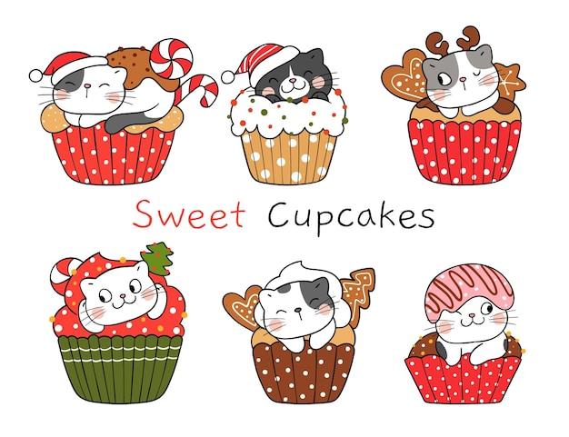 Zeichnen sie lustige katze der sammlung auf weihnachtscupcake für neues jahr