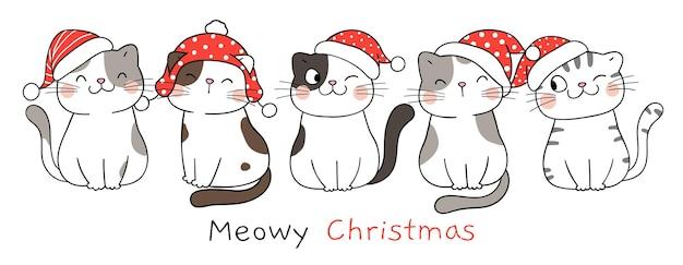 Zeichnen sie lustige katzen der fahne auf weiß für neues jahr und weihnachten