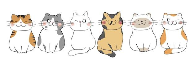 Zeichnen sie lustige katzen doodle cartoon-stil