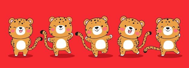 Zeichnen sie lustigen jaguar-tiger auf rot für weihnachten und neujahr