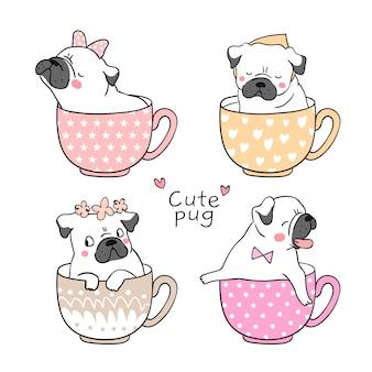 Zeichnen sie mops hund in tasse tee