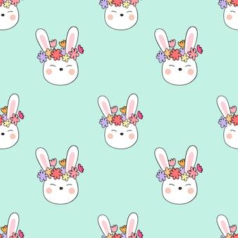 Zeichnen Sie nahtlose Muster Hintergrund Kopf Kaninchen