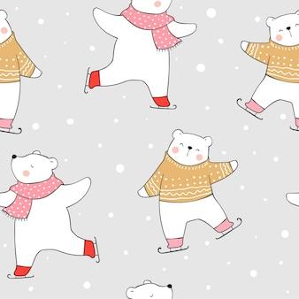 Zeichnen sie nahtlosen muster-eisbären, der im schnee spielt.