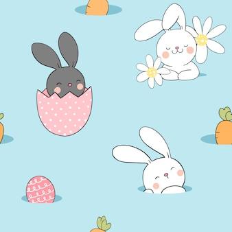Zeichnen sie nahtloses muster kaninchen mit ei für ostern frühling.