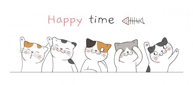 Zeichnen sie nette katze der fahne mit glücklicher zeit des wortes.