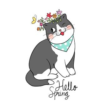 Zeichnen sie nette katze des zeichens mit schönheitsblume für frühlings-saison
