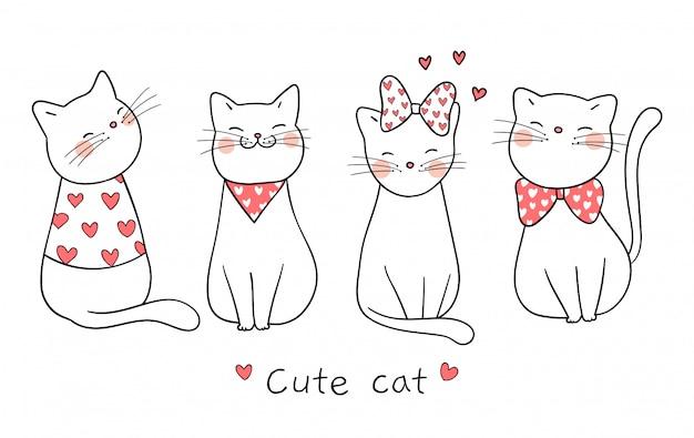Zeichnen sie niedliche katze mit wenig herzen für valentinstag