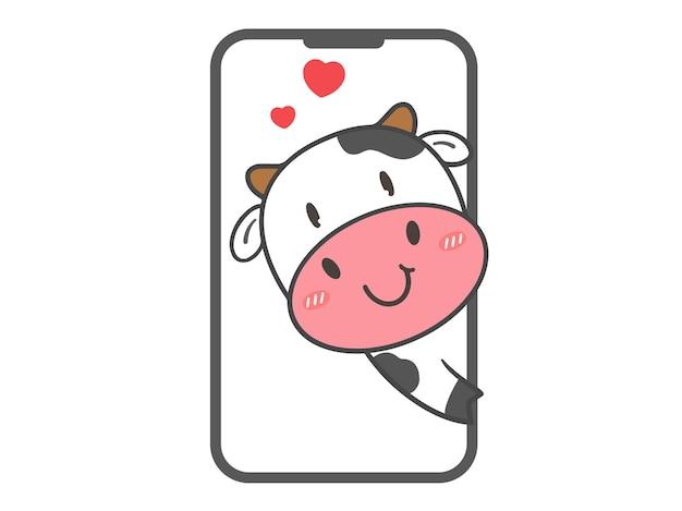 Zeichnen sie niedliche kuh verliebt in smartphone für valentinstag
