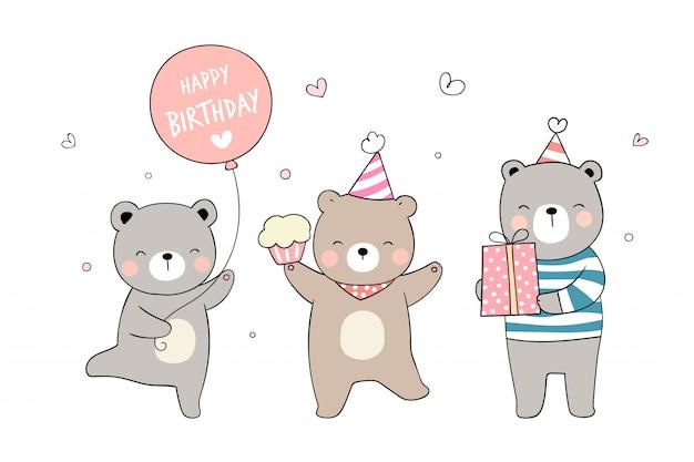 Zeichnen sie niedlichen bären mit cupcake-geschenk und ballon zum geburtstag.