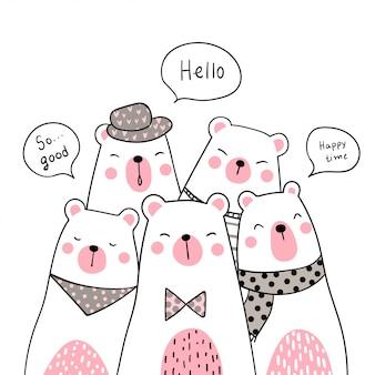 Zeichnen sie niedlichen bären mit süßer farbe doodle-stil