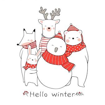 Zeichnen Sie niedlichen Tierkaninchen Bär Rotwild für Weihnachten