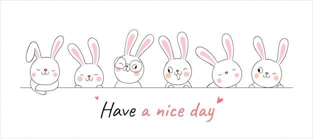 Zeichnen sie niedliches kaninchen der fahne mit wort haben einen schönen tag.