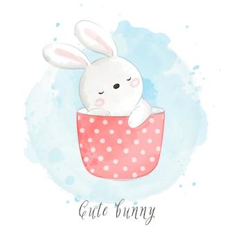 Zeichnen sie niedliches kaninchen in süße tasse tee.