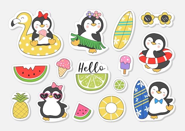 Zeichnen sie sammlung aufkleber niedlichen pinguin für sommer