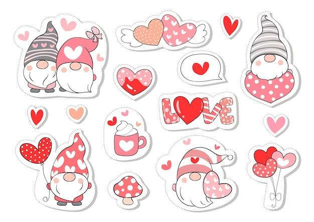 Zeichnen sie sammlung aufkleber süßen gnom für valentinstag.