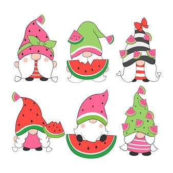 Zeichnen sie sammlung wassermelone gnome cartoon-stil