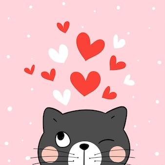 Zeichnen sie schwarze katze mit rotem herzen auf rote farbe für valentine.