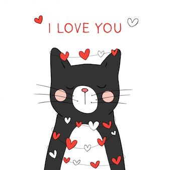 Zeichnen sie schwarze katze mit wenig herzen für valentinsgruß.