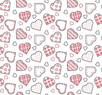 Zeichnen Sie schwarzes, weißes und rotes nahtloses Muster für den Valentinstag, Liebe, Datumsthema.
