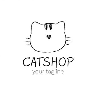 Zeichnen sie skizzenkopf der katze für logo, markenprodukt.
