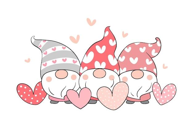 Zeichnen sie süße gnome in liebe zum valentinstag.