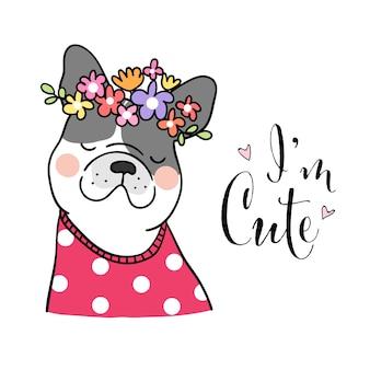 Zeichnen sie süße hunde- und schönheitsblume auf kopf mit wort, das ich niedlich bin