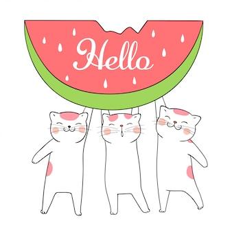 Zeichnen sie süße katze tragen wassermelone für den sommer.