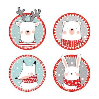 Zeichnen sie tierbär, kaninchenfuchs und hirsch im roten rahmen