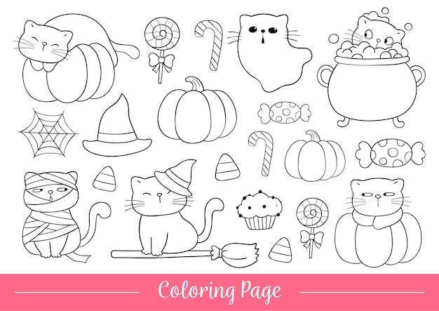Zeichnen sie vektor-illustration malvorlagen halloween süße katzen doodle cartoon-stil