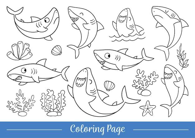Zeichnen sie vektor-illustration malvorlagen niedlichen hai doodle cartoon-stil