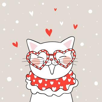 Zeichnen sie weiße katze mit glasherzen für valentinsgruß.