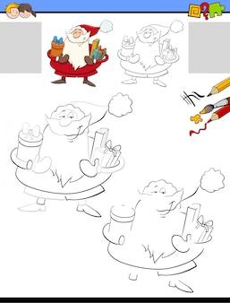 Zeichnen und färben aktivität für kinder mit santa