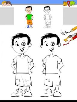 Zeichnen und farbtonarbeitsblatt mit nettem jungen